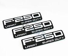 3 NEW CUSTOM BLACK & WHITE Ford F250 Super Duty LARIAT Side Fender Emblems 99-07