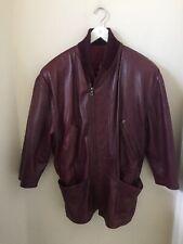 Vintage 1980's Gianni Versace Men's 3/4 Sleeve Maroon Bomber Leather Jacket Rare