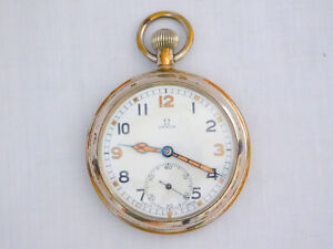 Rare Omega WW2 GSTP Military 15 Jewels Manual Wind Plated Pocket Watch