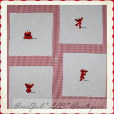 BonEful Fabric LOT Cotton QUILT Baby Sesame Street ELMO Red White Nursery Decor