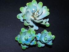 vinntage demi signed coro rhinestone enameled flower brooch clip on earrings