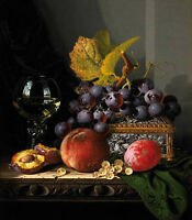 Dream-art Oil painting Edward Ladell - Nice still life Fruit and wine on canvas
