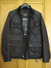 £299 Mens Barbour International Fog charcoal black 8oz Bees wax jacket Small