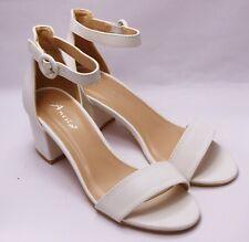 Zapatos de Novia Tiras Sandalias Noche Danza Blanco Sencillo H 108