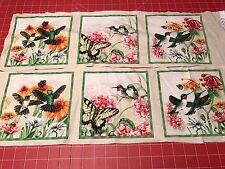 "BOGO Fabric Hummingbird Butterfly Panel Cotton 6"" x 6"" 3 Indl Sq 2 Ea Elizabeth"