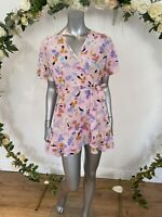 Influence Dress Size 12 Petite Wrap Front Abstract Floral Print Belted GG19 New
