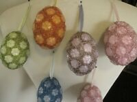 """7 EASTER EGGS BEADED EGG ORNAMENTS 4"""" INCHES LONG"""