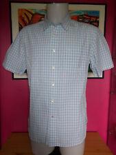 Chemise coton blanc carreaux bleu ciel manche courte DOCKERS Fitted L/G 42
