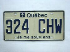 QUEBEC License Plate # 324 CHW
