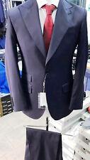 Navy classic super 150 Cerrutti 2 button wool suit/wide peak lapel