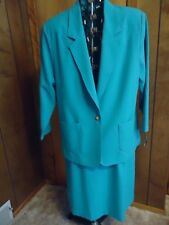 NWT Womens 15/16 Nikki 2 Pc Turquoise A-Line Skirt & Unlined Blazer Set