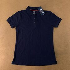 French Toast Girls Size Xl(14/16) Navy Short Sleeve Stretch Pique Polo Shirt Nwt