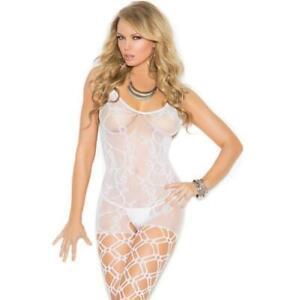 Crochet Bodystocking Fishnet Scroll Vine Diamond Net Legs Crotchless White 1656