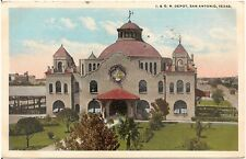 I. & G. N. Railroad Depot in San Antonio TX Postcard 1919