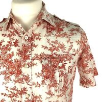 Ted Baker Mens Shirt Size 3 Medium Casual Short S Button Down Top White Floral
