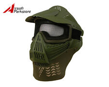 Tactical Airsoft Paintball Full Face Guard Mask w/Mesh Goggles Neck Protector OD