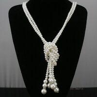 Fashion Jewelry Pendant Statement Women Choker Bib Necklace Long Chain Pearl