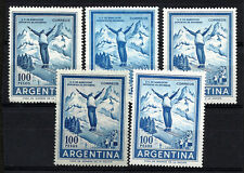 ARGENTINA SKI Pet 606E, 606Ea, 606Eb, 835, 870A MNH Different papers and impress