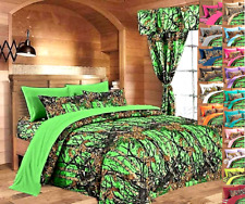 22 PC QUEEN / KING SIZE SET! CAMO BIOHAZARD GREEN KING COMFORTER SHEET CURTAINS