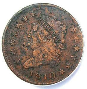 1810 Classic Liberty Head Large Cent 1C - ANACS VF30 Detail -  Rare Date Coin!