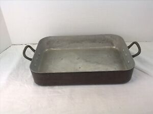 """Made In France Copper Roasting pan brass handles, 10.25"""" x 7.25"""" x 2""""  Vintage"""