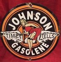 1933 VINTAGE STYLE JOHNSON GAS & OIL PUMP PLATE 12 INCH PORCELAIN SIGN