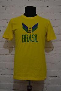 BRAZIL FOOTBALL SHIRT FAN WORLD CUP 2014 ADIDAS SOCCER JERSEY COTTON MENS S