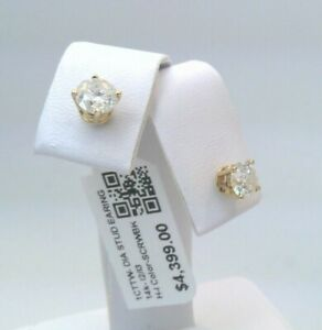 $4300 WOW 1CTTW CT REAL Diamond Stud Earrings SOLID YELLOW Gold! $1 SCREWBACKS