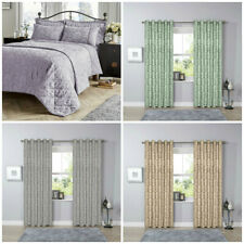 Eyelet Jacquard Damask Thick PAIR of Curtains Luxury Ready Made Lined Curtain