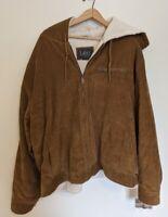 Lee Outerwear Hooded Brown Corduroy Sherpa Mens Jacket Coat XL