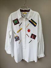 Teacher Blouse School Attire Size 22 W White Button Down Long Sleeve