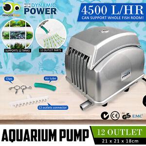 Aqua Aquarium Air Pump Oxygen Pond Septic Blower Fish Room Tank 12 Outlets