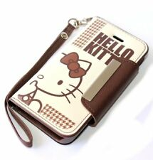 For iPhone 6 / 6S - BROWN HELLO KITTY LEATHER CARD WALLET POUCH DIARY CASE COVER