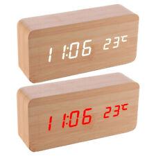 2pk USB Wooden Digital Clock W/led Display Voice Control Alarm Date Temperature