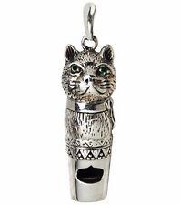 VICTORIAN STYLE CAT WHISTLE GREEN EMERALD EYES PENDANT 925 STERLING SILVER DOG