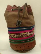 Vintage Boho Hippie Drawstring Bag Tooled Leather & Wool Tapestry Hipster Pouch