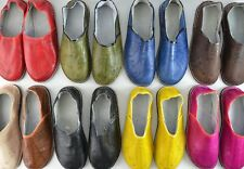 MENS WOMENS MOROCCAN LEATHER BABOUCHE SLIPPERS SHOES MULES SLIDES *HANDMADE*