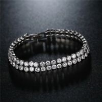 PLATINUM PLATED MADE WITH SWAROVSKI CRYSTALS DOUBLE ROW BRACELET CHAIN LWG24