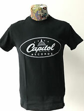 ***NEW*** 'CAPITOL RECORDS' BLACK T SHIRT ROCKABILLY HILLBILLY 40s/50s FREEPOST