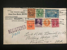 1945 Balboa Canal Zone Panama Registered Official cover to Ruxton Md USA