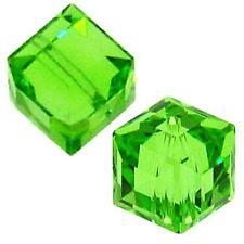 6 #5601 Swarovski Austrian Crystal Beads - Peridot - 4mm Cube (6 pcs)