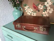 Gorgeous Vintage 1940s Utilitarian Small Leather Faced Brown SuitCase #4805