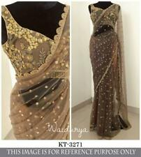 Indian Bollywood Party Wear Womens New Brown Saree Sequins Nylon Net Sari Blouse
