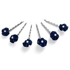 6 épingles pinces plates cheveux mariage froufrou satin bleu nuit perle blanche