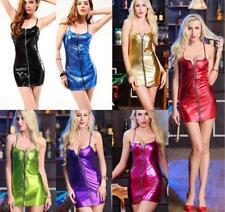 Women's Wetlook Vinyl Strap mini Dress Clubwear Party Dress Cocktail Plus 4XL