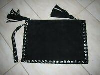 Beautiful as new Stuart Weitzman Italian black suede leather clutch bag