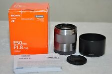 Sony SEL 50 mm f/1.8 E OSS Lens (Silver) w/ Box+ Hood_ Excellent Condition!!