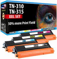 4 XXL TN 310 TN 315 TONER 50% MORE YIELD FOR BROTHER MFC-9460CDN MFC-9970CDW SET