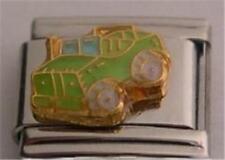 GREEN JEEP CAR TRUCK ENAMEL ITALIAN CHARM 9MM CLASSIC MAKE A BRACELET DIY