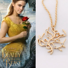 14K GOLD Disney Beauty and the Beast Belle Princess Rose Tree Crystal Necklace